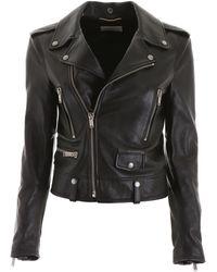 Saint Laurent Printed Leather Jacket - Black