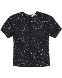 N°21 N.21 Lace Top With Pocket And Crystals - Black