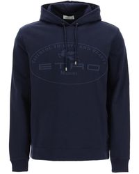 Etro Logo Hoodie S Cotton - Blue