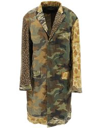 R13 Shredded Camouflage Coat S Cotton - Green