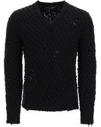 Dolce & Gabbana V-neck Destroyed Pullover - Black