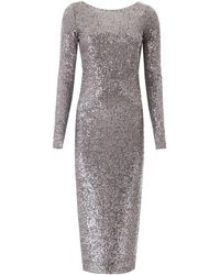 In the mood for love Sandy Sequined Midi Dress - Grey