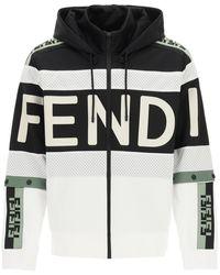 Fendi Logo Print Hoodie M - Black