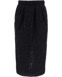 N°21 Lace Pencil Skirt. - Black