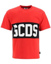 Gcds T-shirt With Logo Band S Cotton - Red