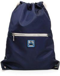Prada Navy Logo Drawstring Backpack - Blue
