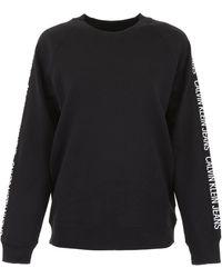 Calvin Klein Sweatshirt With Logo Bands - Black