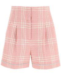 MSGM Tartan Boucle Shorts - Pink