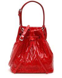 Miu Miu Quilted Calfskin Bucket Bag - Red