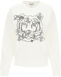 KENZO Bee A Tiger Crewneck Sweatshirt M Cotton - White