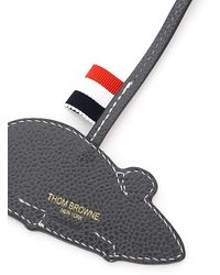 Thom Browne Mouse Bag Charm In Leather - Gray