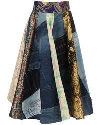 Dolce & Gabbana Patchwork Midi Skirt - Blue