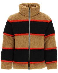 Burberry Color Block Fleece Down Jacket S - Black