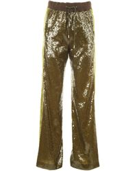 Alberta Ferretti - Sequin-embellished Track Trousers - Lyst