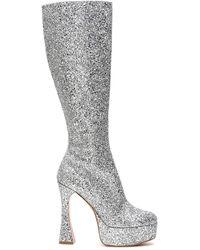 AMINA MUADDI Farah Glitter Knee-high Boots - Metallic