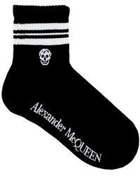 Alexander McQueen Stripe Skull Sport Socks M Cotton - Black