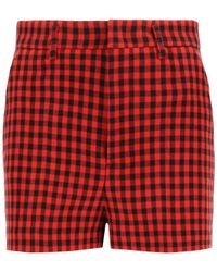 RED Valentino Gingham Shorts 38 Wool - Red