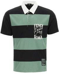 Fendi Striped Polo Shirt With Logo Embroidery - Green