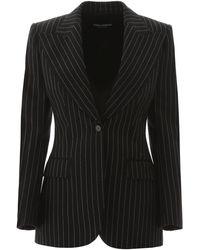 Dolce & Gabbana Pinstriped Blazer - Black