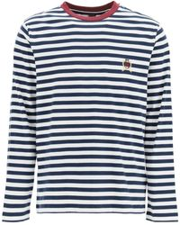 Tommy Hilfiger Striped T-shirt With Embroidered Emblem S Cotton - Blue