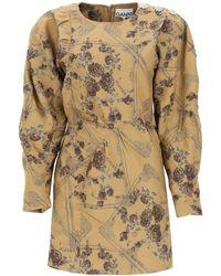 Ganni - Mini Dress In Jacquard Brocade - Lyst
