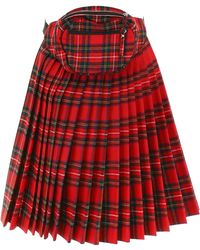R13 Panel Skirt With Beltbag - Red