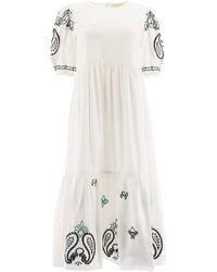 Tory Burch Embroidered Midi Dress - White