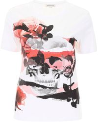 Alexander McQueen Skull And Roses T-shirt - White