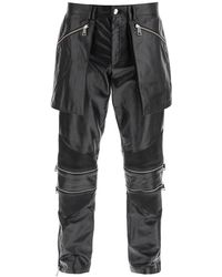 Youths in Balaclava Convertible Leather Biker Trousers - Black