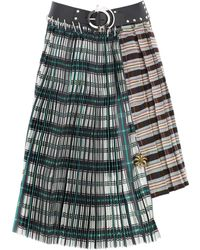 Chopova Lowena GONNA MIDI TARTAN - Verde