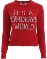 Alberta Ferretti Slogan Sweater - Red