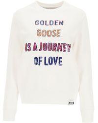 Golden Goose Athena Sweatshirt With Sequined Logo - White