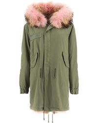 Mr & Mrs Italy Army Coyote Fur Long Parka Jacket - Green