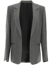 Totême Oversized Blazer In Herringbone Wool 36 Wool - Grey