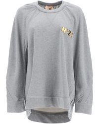 N°21 Over Sweatshirt With Golden Logo 38 Cotton - Grey