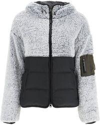 Woolrich Fleece And Nylon Hoodie - Gray