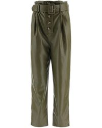 Self-Portrait Faux Leather Trousers - Green