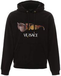 Versace Sunglasses Logo Print Hoodie - Black