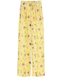 RED Valentino Sweet Roses Print Velvet Pants 42 Silk - Yellow
