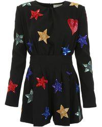 Saint Laurent Jumpsuit With Embroidery - Black