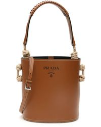 Prada Bucket Bag With Rope Knots - Brown