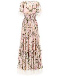 Dolce & Gabbana Ruched Lilies Dress - Pink