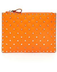 Valentino Garavani Neon Spike Pouch - Orange