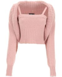 Blumarine Angora Blend Twin Set S Wool - Pink