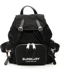 Burberry The Small Rucksack In Logo Print Econyl® - Black