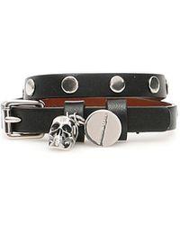Alexander McQueen Pionier Bracelet Os Leather - Black