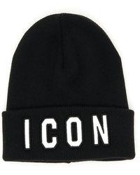 DSquared² Cuffia berretto uomo in lana icon - Nero