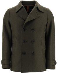 Harris Wharf London Boiled Wool Pea Coat - Green