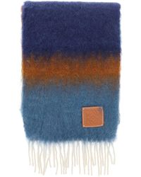 Loewe Multicolour Striped Scarf - Blue