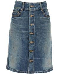 Saint Laurent Denim Skirt - Blue